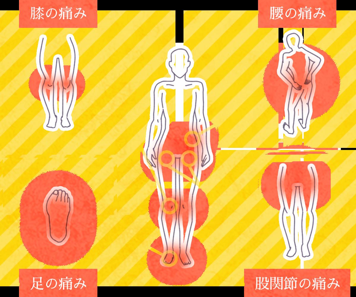 膝の痛み、腰の痛み、足の痛み、股関節の痛み